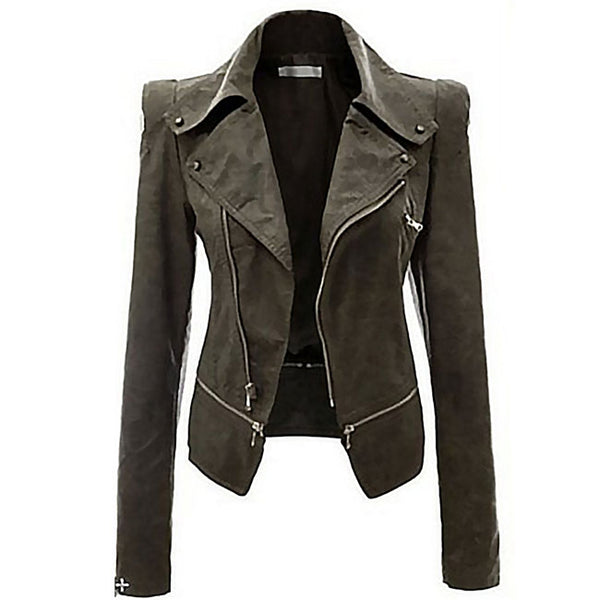 Fashion PU Leather Zipper Jacket Autumn Coat PU Clothes Motorcycle Leather Jacket