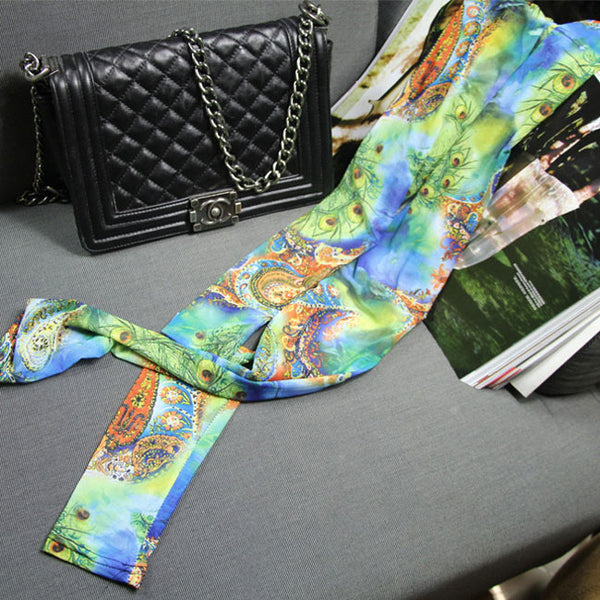 Fashion Bohemian Patterns Printing Mesh Thin Sun Block Ninth Women Leggings