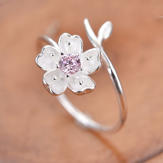 Sweet Pink Crystal Frosted Cherry Vivid Flower Branch Open Ring