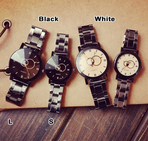 Leisure Harajuku Simple Steel Strip Couple Watch Student Quartz Watches