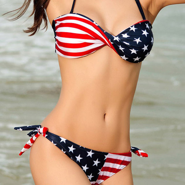 Sexy American Flag Stripes Bikinis Swimsuit