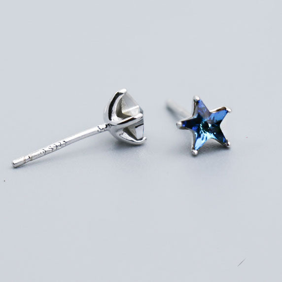 Cute Mini Blue Five-pointed Star the Heart of the Ocean Silver Girl's Earring Studs