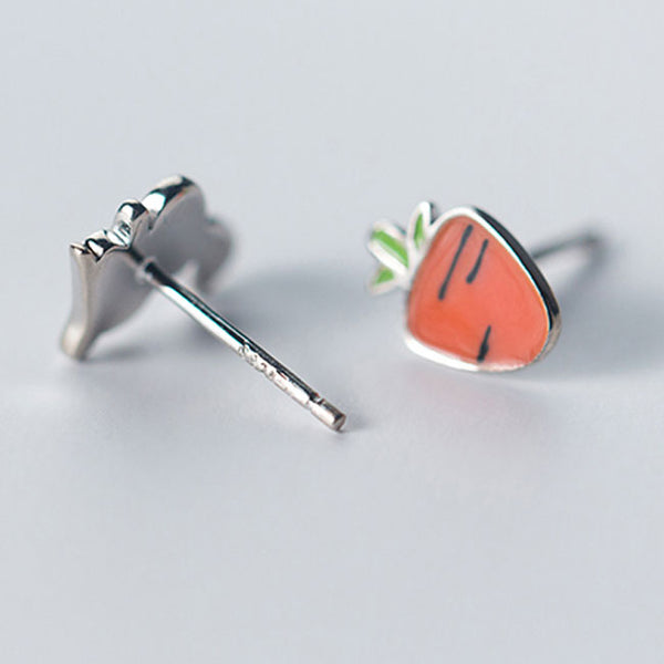 Funny Silver Cute Rabbit Asymmetric Carrot Earrings Summer Jewelry Earrings Studs