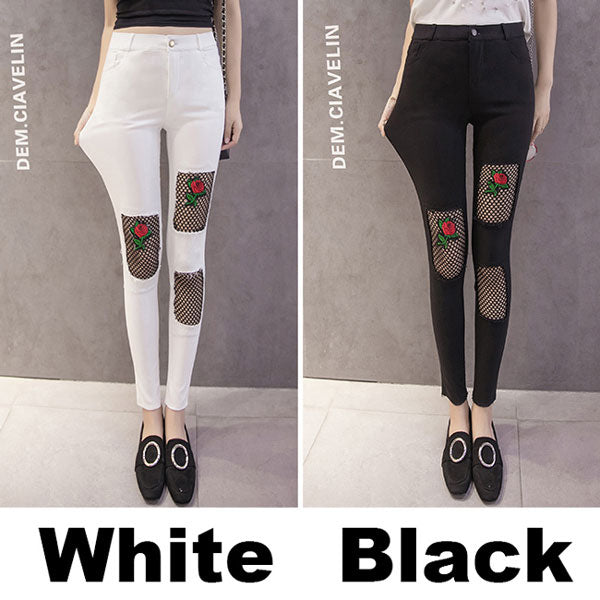 Unique Embroidery Black Mesh Rose Patch Ripped Stretchy Skinny Ninth Legging Jean
