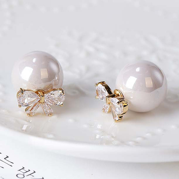 Elegant Bow Zircon Pearl Round Dual-purpose Lady Earring Studs