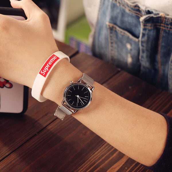 Retro Simple Couple Student Big Dial Leisure Women Watch
