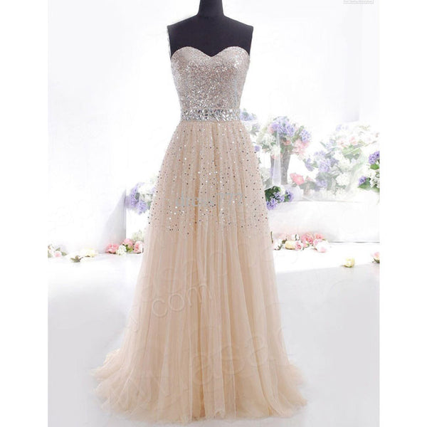Elegant Women's Chiffon Sequins Tee Dress Formal Long Evening Dress Party Prom Bridesmaid Maxi Dress
