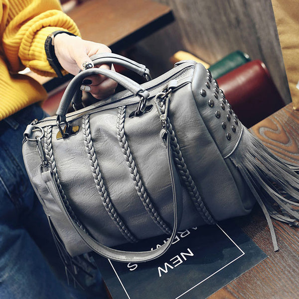 Fashion Girl's PU Tassel Rivets Weave Black Large Capacity Zipper Boston Shoulder Bag