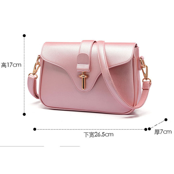 Elegant Simple OL Style Metal Lock Flap Girl's PU Shoulder Bag