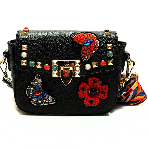 Vintage PU Butterfly Flowers Embroidery Rivets Flap Small Lady Shoulder Bags