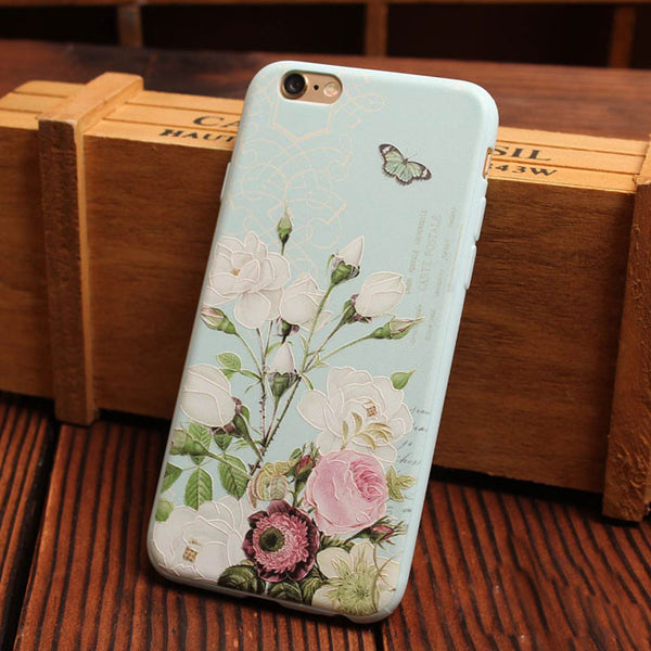 Sweet Peony Flower Relief Silicone Soft Iphone Cases For 6/6Plus