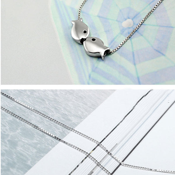 Fashion Romantic Kissing-fishes Polished Pendant Women Gift Silver Animal Double Fish Necklace