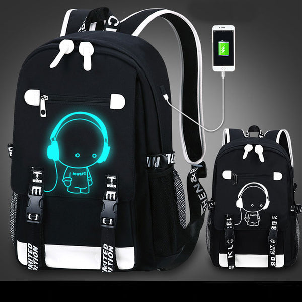 Cool Waterproof Oxford Cloth Luminous Cartoon Printing School Backpack USB Interface Fluorescence Travel Backpack