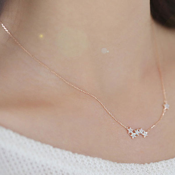 Fashion Women's Pentagon Stars Clavicle Chain Short Gold-plated Multilayer Necklace