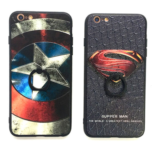 New Cartoon Embossed Captain America Superman Iphone 6/6 plus/7/7 plus Cases