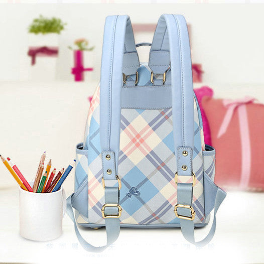 England Lattice Bear Floral Pattern Printing Rivet College Travel Backpack - lilyby