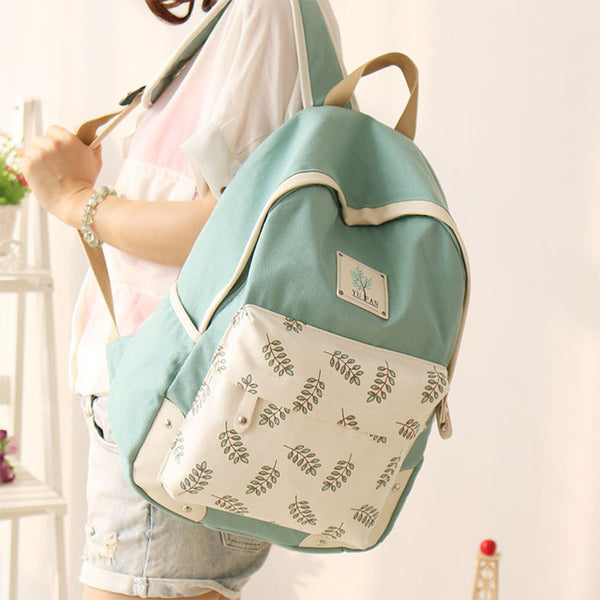 Fresh Leaf School Rucksack Leaves Printed Lady College Canvas Backpack - lilyby
