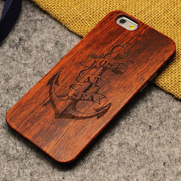 Handmade Carving Anchors Wood  Case For Iphone 5/5S/6/6Plus - lilyby