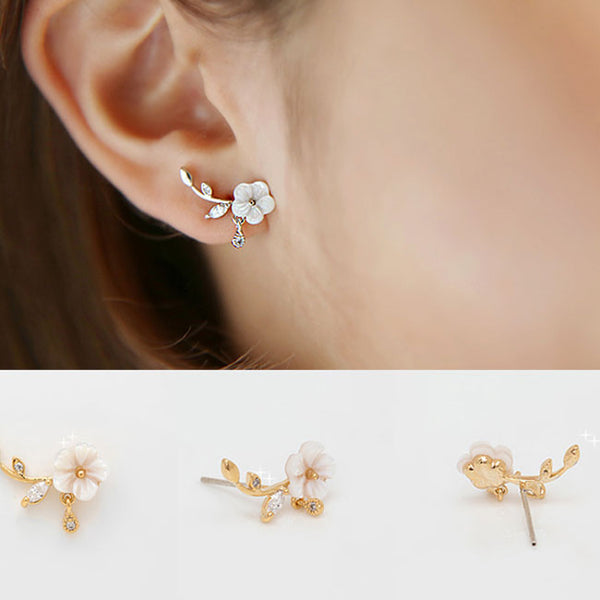 Unique Design Silver Shell Flower Shape Fashion Earring Studs