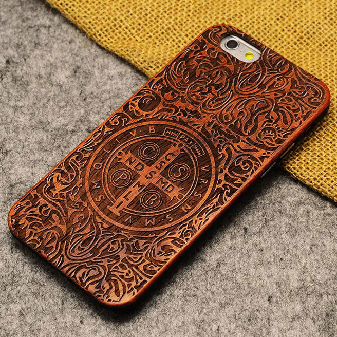 Handmade Carving Kasitading Cross Wood  Case For Iphone 5/5S/6/6Plus - lilyby