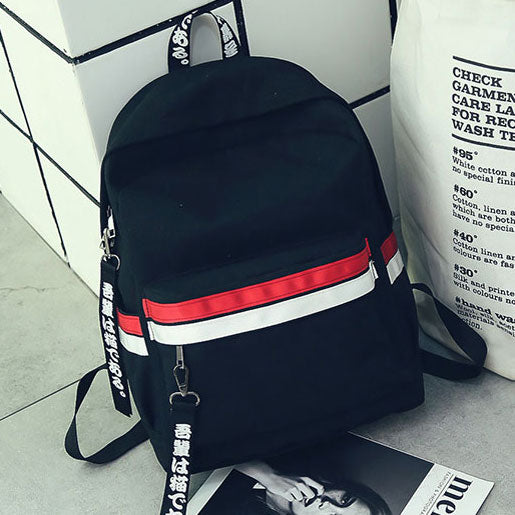 Leisure Student Bag Canvas School Backpack Two Color Stripes Waterproof Striped Rucksack