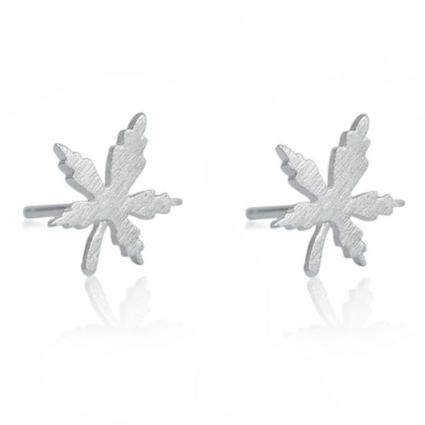Cute Quaint Girl's Simple Maple Leaf Brushed Silver Mini Retro Earring Studs