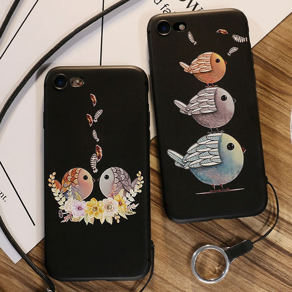Cartoon Embossed Lovely Couple Birds Iphone 6/6s/6 plus/6s plus/7/7plus/8/8 plus plus Case Iphone Cover