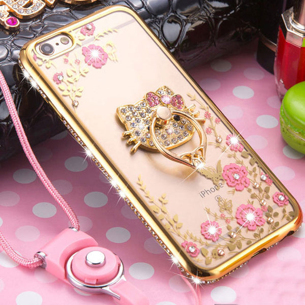 Shining Diamond-bordered Flowers Cat Peacock Hold Ring Iphone 6/6s/6 plus/6s plus/7/7 plus/8/8 plus Iphone Case