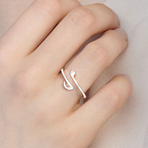 Cute Music Notes Silver Open Women Ring