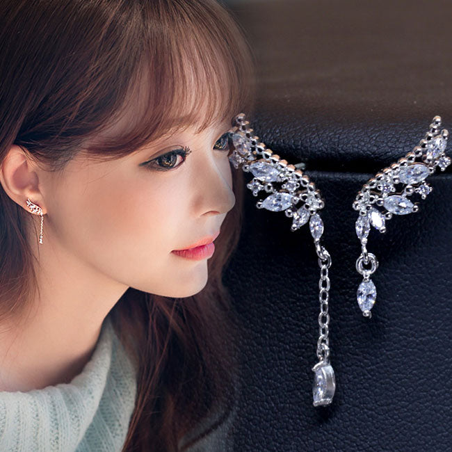 Fashion Angel Wings Diamond Asymmetric Tassel Crystal Lady Earrings Studs