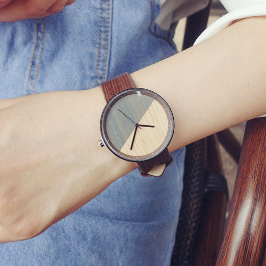 Cute Circular Dial Wood Grain Strap Chic Waterproof Quartz Lady Watch