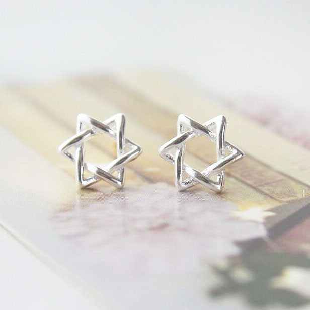 Cute Mini Winding Hexagram Star Silver Earring Studs