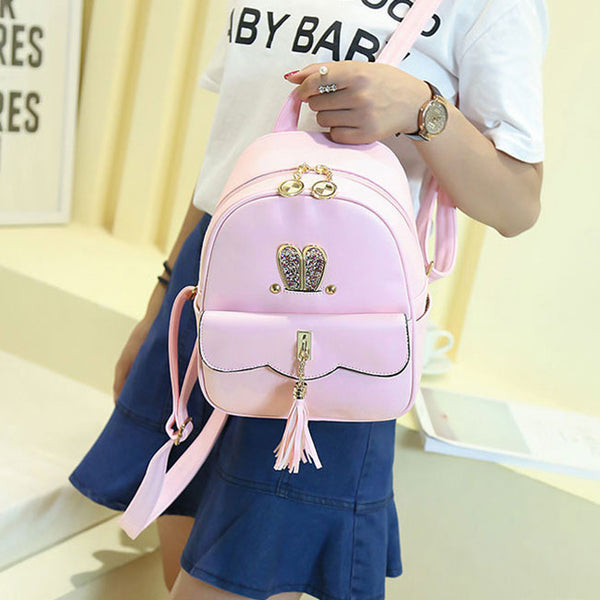 Cute PU Girls Tassels Rabbit Ear Backpack Leisure Lotus Leaf School Backpack