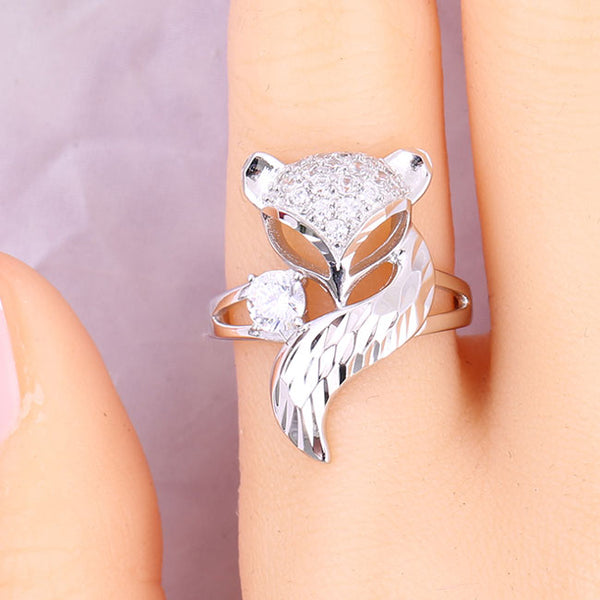 Unique Design Silver Fox Open Animal Diamond Women Rings
