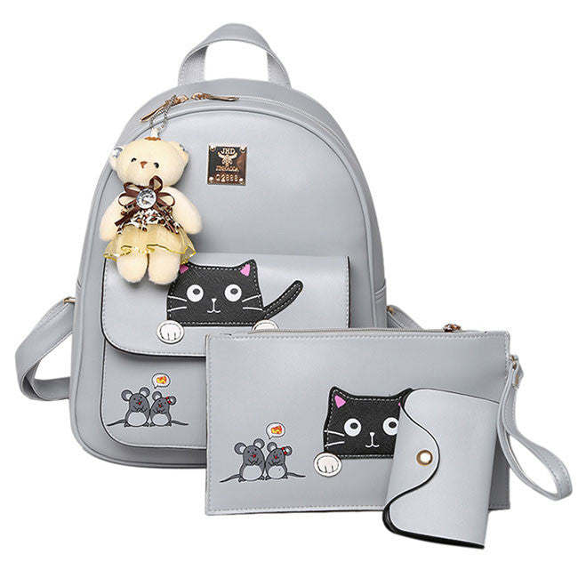 Cute Kitty Bag Gift Bear Doll Mouse Splicing Cat PU Kitty Backpack Cartoon School Backpack