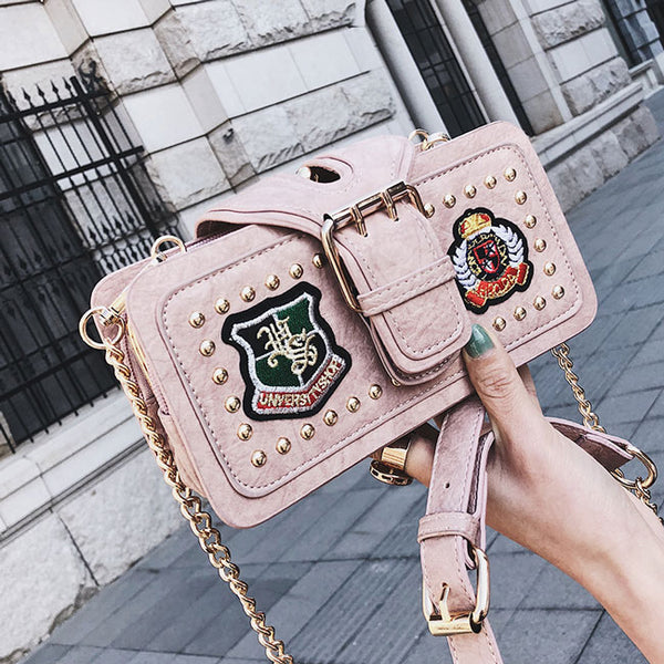 Unique Cute Girl's PU Leather Rivet Small Shoulder Bag