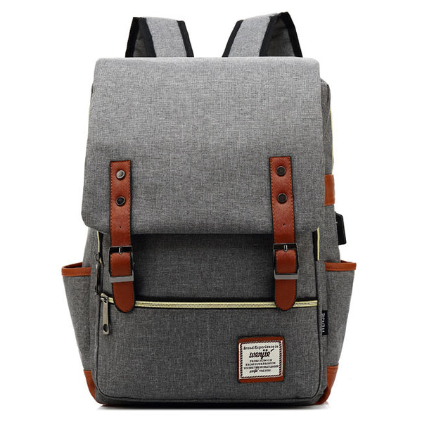 Vintage Girl's College Rucksack USB Interface School Backpack Double Belt Large Thick Canvas Bag