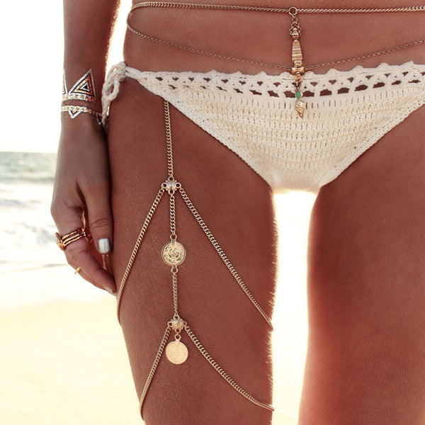 Retro Beach Harness Jewelry Stretchy 2 Tier Leg Thigh Body Alloy Chain