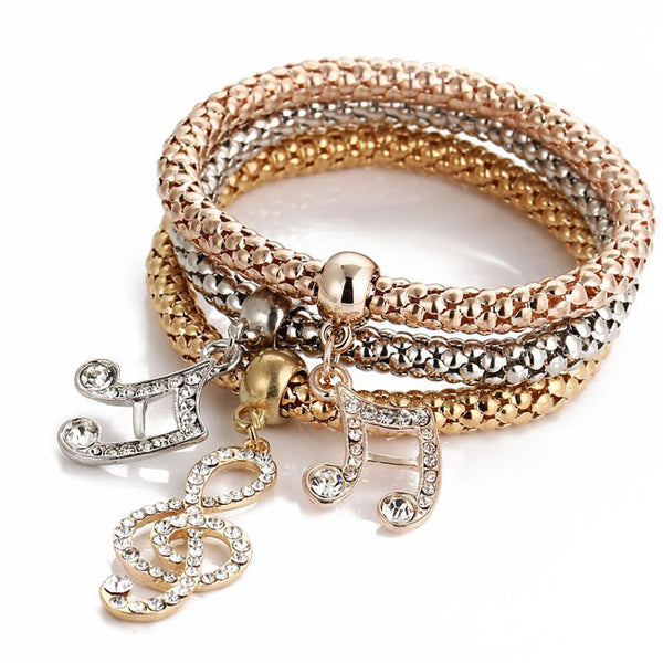 Fashion Anchor Elephant Music Note Butterfly Crown Drop Multi-layer Women Bracelet