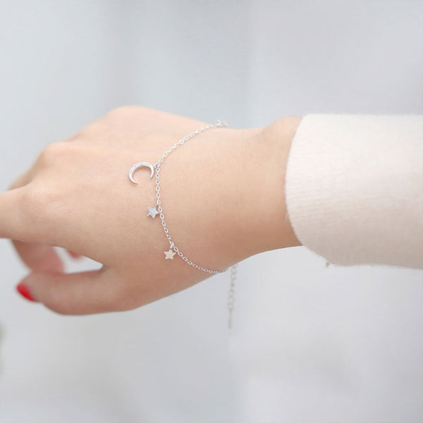Fresh Moon Star Silver Bracelet Friend Gift Accessories Women Bracelet