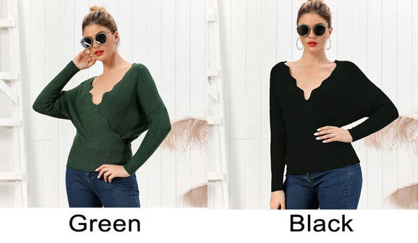 Leisure Knit Slim V-neck Long-Sleeved Cardigan Autumn Winter Solid Color Women Sweater