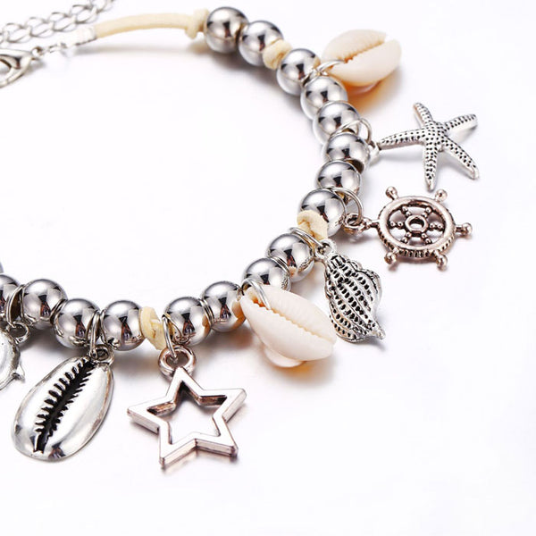 Leisure Beach Silver Bead Fish Shell Hollow Pentagram Star Rudder Starfish Pendant Anklet