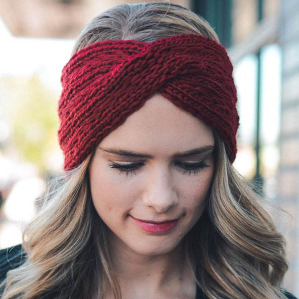 Leisure Thick Wool Diagonal Headbands Cross Hair Accessories Knitting Headband