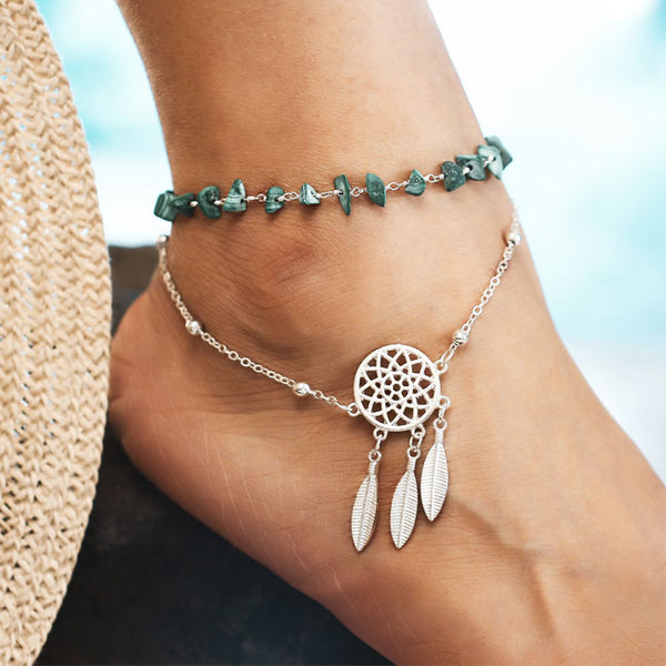 Retro Catcher Irregular Turquoise Bracelet Feather Pendant  Openwork Dream Beach Anklet