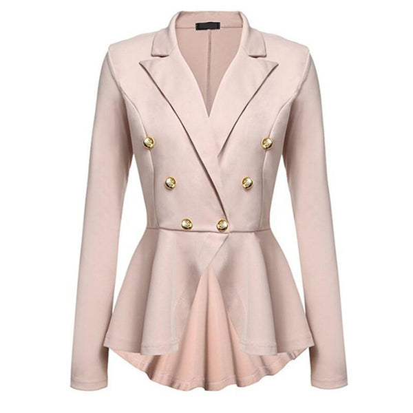 Fashion Long Sleeve Small Blazer  Double Row Metal Buckle Women's Coat