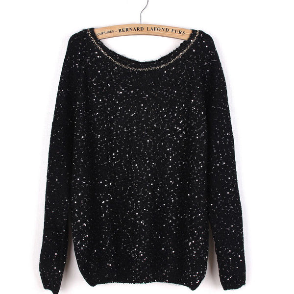 Sequined Bowknot Knitted Lace Match Sweater - lilyby