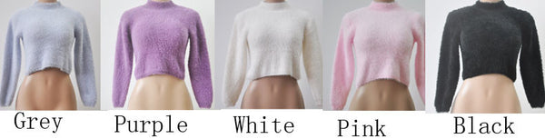 Collar Plush Long-sleeved Short Sweater 5-color