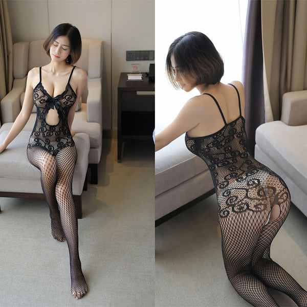 Sexy Bow Flower Intimate Net Stocking Lace Conjoined Underwear Women Lingerie