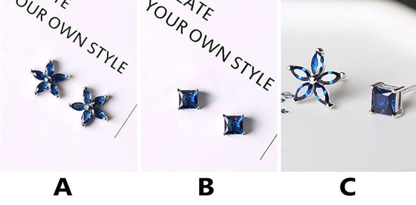 Fashion Silver Lady's Asymmetric Square Small Flowers Blue Zircon Allergy Silver Earrings Studs
