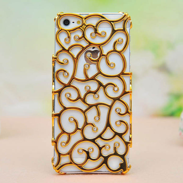 Palace Pattern Rhinestone Hollow Iphone Case - lilyby